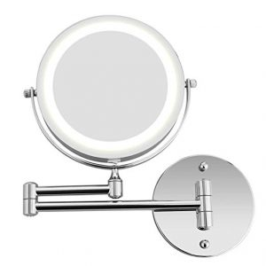 Bazal Makeup Mirror Wall Mount 5X Magnifying Mirror LED Lighted