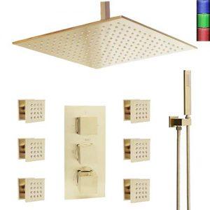 Bilu-hose Bathroom Thermostatic LED 16 Inch Ceiling Rainfall Shower System