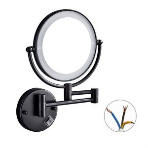 LIUSI Wall Mount Shaving Mirror with LED Lights