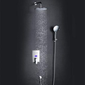 LJJ Hot Concealed Shower Set Water Power Intelligent Digital Display Anti-hot Shower Set