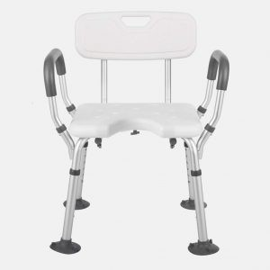 Shower Bench Medical Tool Free White Shower Chair with Removable Back and Arms