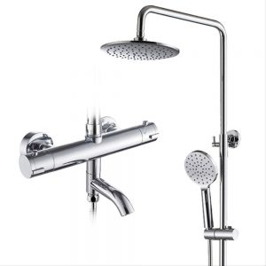 Thermostat Shower System, Wall Mounted Chrome Bathroom Rainfall Shower