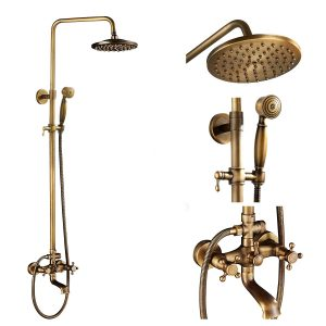 Antique Brass Tub Shower Fixture 8-inch Rainfall Shower Head Sets