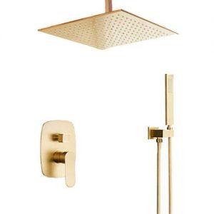 Bilu-hose Bathroom Brass Brushed Gold 10 Inch Ceiling Mount Rain Mixer Combo Rainfall Shower