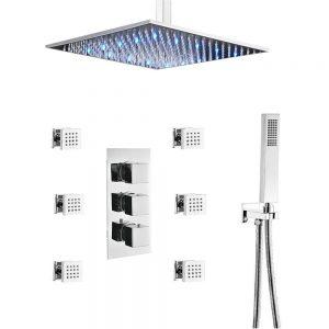 Ceiling LED Rain Shower System 6 Body Spray Jets, 12Inch Bathroom Brass Shower Faucet
