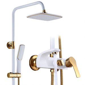 Shower Faucet Set Bathroom White Rainfall Shower Faucet