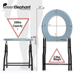 Green Elephant Folding Commode Portable Toilet Seat Specifications