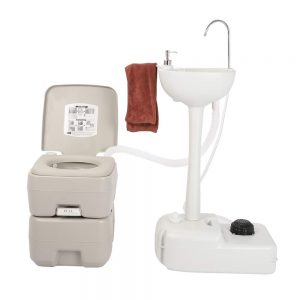 Portable Hand Sink Outdoor Camping Wash Basin with Portable Toilet